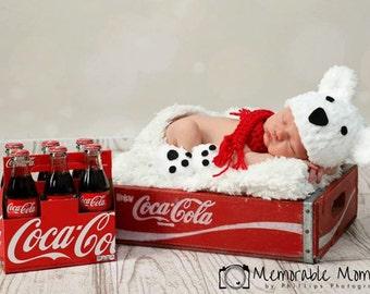 Baby Polar Bear Photo Prop- newborn photography prop- baby bear prop- polar bear hat- newborn polar bear- baby shower gift set- bear beanie