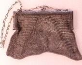 DONOTBUY RESERVED Antique Evening Bag Silver Mesh Evening Bag Floral Bag  Stamped English Victorian