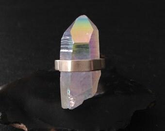 Caged Opal Aura Quartz Ring - Sterling Silver