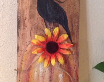 Fall Sign Upcycled Wood Shingle Fall Pumpkin and Black Crow Autumn Sign Hand Painted Rustic Country Farm Housewarming Autumn Sign Home Decor