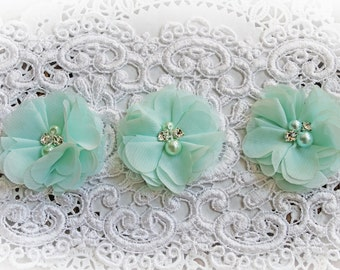 Reneabouquets Flower Set -Soft Mint Green Chiffon, Pearl And Rhinestone Fabric Flowers