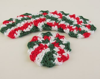 Crochet Christmas Coasters Set of 6