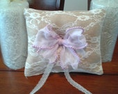 Tan burlap and lace ring pillow lavender bow