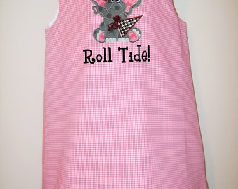 Girls Gingham A-line Dress/Jumper w/ Alabama Elephant w/ Flag, Football, Cheerleader, Love Embroidered Applique w/ Personalization, Sz 3m-8