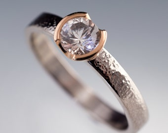 White Sapphire Rose Gold Semi Bezel Solitaire Engagement Ring with Textured Palladium Band, Modern Mixed Metal Ring, Sapphire Engagment Ring