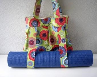 Yoga Bag Green Floral Handmade Babimini