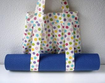 Yoga Mat Bag Polka Dots Handmade Babimini
