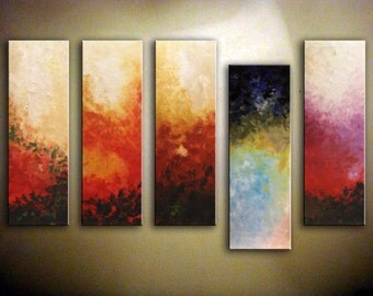 """Abstract Painting, Original Multicolored Artwork, Modern Acrylic Painting, Huge Wall Art 36"""" x 60"""", Multi panels Wall Decoration by Nata S"""