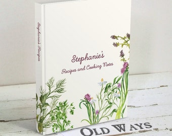 Herb Garden Blank Recipe Book, Cooking Journal - Custom Personalized Hardcover Book - Gift for Cook, Bridal Shower Gift