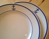2 U.S. Navy Salad Plates Buffalo China Military History Dinnerware Restaurant Ware Warrent Officer Mess Hall