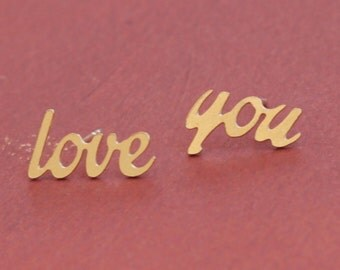 Gold I Love You Earrings, Love You Studs, Love Earrings, I Love You Jewelry, Romantic Girlfriend Gift, I love You Posts, Gift for Her