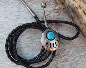 Native American Bear Claw Bolo Tie  ~  Shadow Box Silver and Turquoise Bear Claw Bolo Tie  ~  Turquoise Bear Claw Bolo Tie