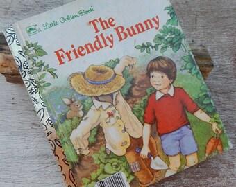 3.00 Sale  ~  1985 The Friendly Bunny Little Golden Book   ~  Little Golden Book