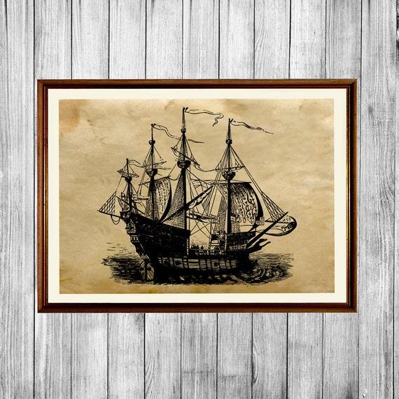 Ship print antique poster nautical home decor ak472 for Ship decor home