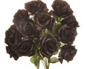 "New Silk Black Rose Bush, 12 Black Roses 3.5"" in diameter."