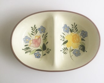 Stangl Pottery Country Garden divided serving bow, floral dinnerware, vintage china, perfect for country decor