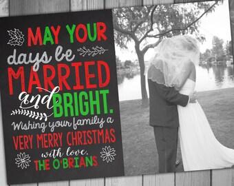 Christmas Wedding Thank You Cards Wedding Thank You Cards Married and Bright Thank You Cards Photo Thank You Cards Photo Wedding Thank You