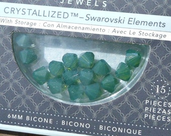 CLEARANCE Swarovski Crystals 15 Bicone Set, 6mm, Palace Green Opal, Made in Austria, Beading Supplies, Shiny Crystals