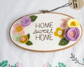 Embroidery Hoop Art - Pastel - Wall Art - Home Sweet Home