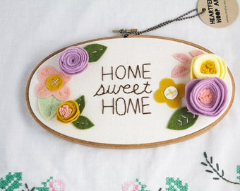 Home Sweet Home Sign, Floral Embroidery Hoop Art, Housewarming Gift, New House Present, Custom Sign, Embroidered Message, You Choose Text