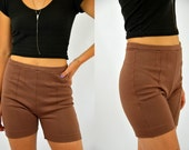 60s Swim Shorts Toffee Brown Pleated High Waisted Swimming Trunks
