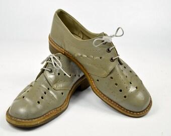 60s Mod Cutout Grey Leather Lace Up Dress Shoes Mens 8.5