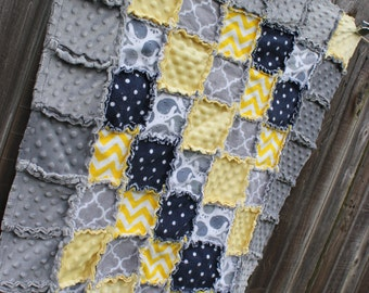 Navy, Yellow & Gray Whale Rag Quilt/Blanket! Perfect baby shower/ birthday gift, would be adorable boy or girl nursery crib bedding/quilt