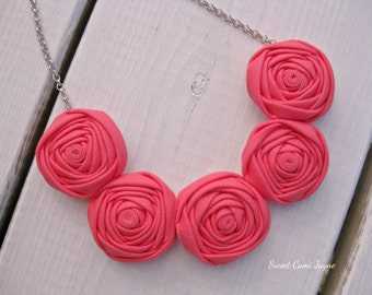 Mini Coral Pink Bib Necklace Statement Necklace Rosette Necklace Handmade Necklace Unique Necklace Colorful Necklace Girls Necklace