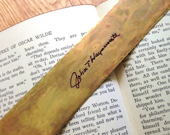 Personalized Brass Bookmark with ACTUAL HANDWRITING or Favorite Quote