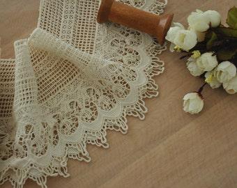 Vintage Style Pure Cotton Lace Trim,  Ecru Crochetd Lace Trim, Bridal Accessory Lace Trim
