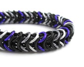 Asexual pride bracelet, chainmail stretchy bracelet, ace pride jewelry, black gray white purple