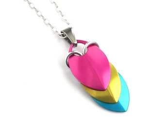 Pansexual pride pendant necklace, chainmail scale pendant, pan pride jewelry, pink yellow blue