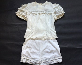 Vintage Ruffle Bloomers with Matching Ruffle Top