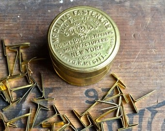 Antique tin, 1890 - 1930 Brass Tin Jar, vintage Advertising tin, McGill's with 30 Original Fasteners, Flat Heads #2