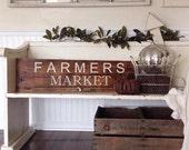 Farmers Market. Michigan Raised. Customizable. Painted on barn wood.