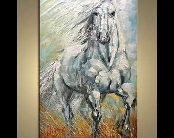Oil painting Freedom on canvas Art original from Nizamas pallete knife hand painted Stallion ready to hang
