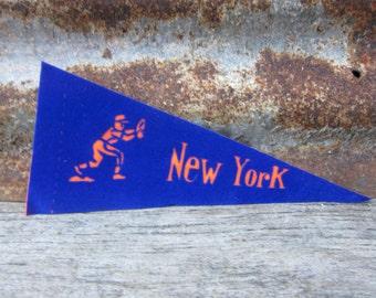 Vintage Baseball Pennant New York Mets Orange & Blue 8 1/2 Inch Mini Pennant Flag 1970s Collectible Vintage Sports Decor Gameroom Man Cave