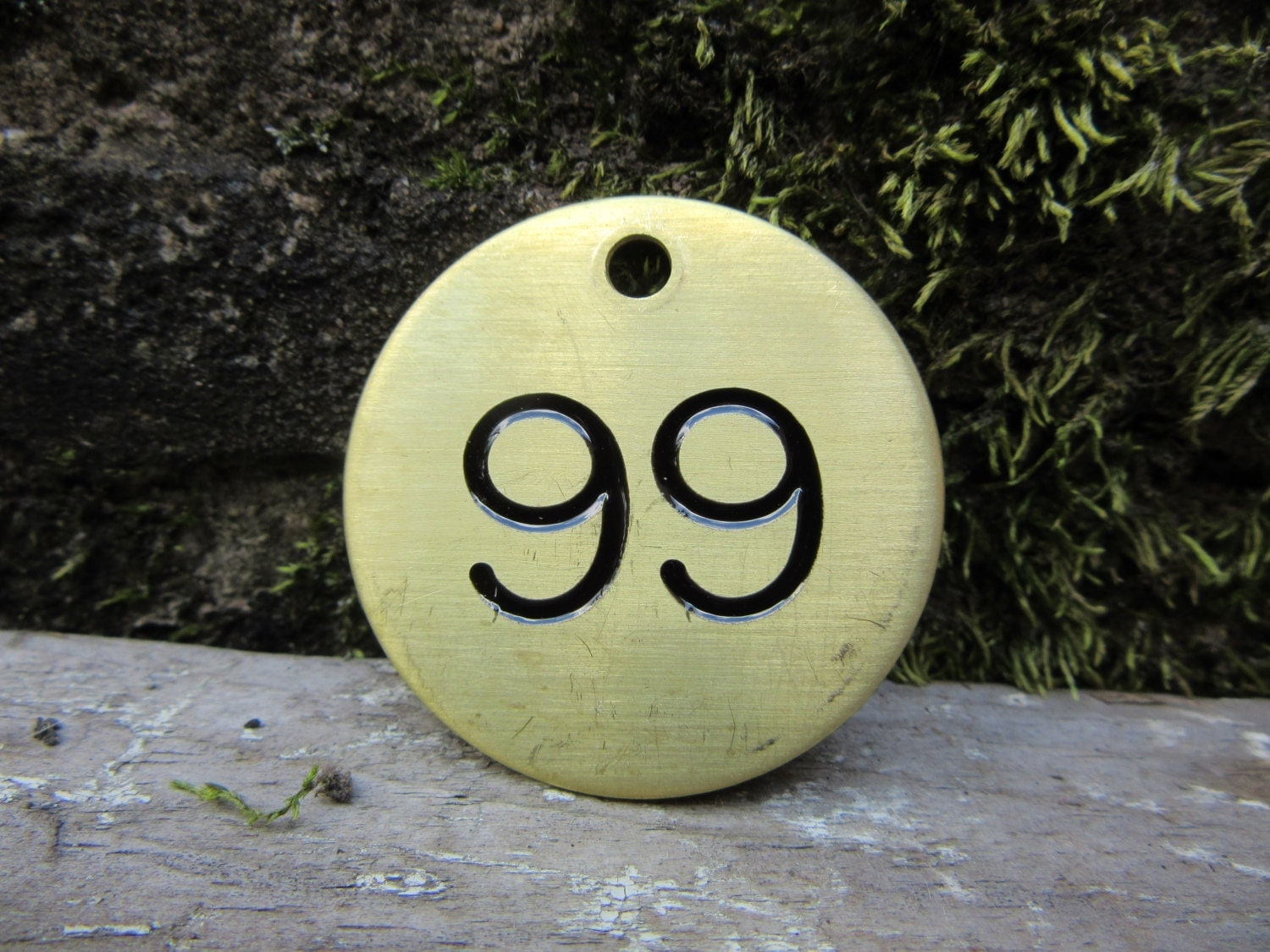 Number 99 Tag Brass Metal 99 Industrial Tag 1999 Birth Year