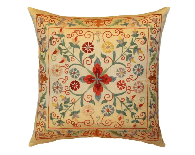 Handmade Suzani Silk Pillow Cover EMP722, Suzani Pillow, Uzbek Suzani, Suzani Throw, Suzani, Decorative pillows, Accent pillows