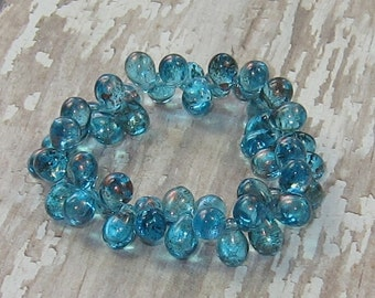 Blue 5x7mm Czech Glass Drop Bead Capri Copper Teardrop DEW DROPS (30)