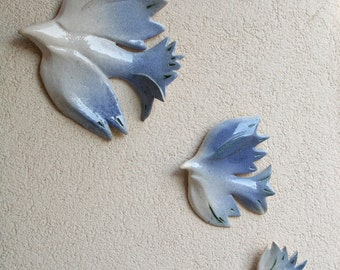 Three doves .  Hanging on the wall sculpture.Wall decor .Wall art ceramic birds.