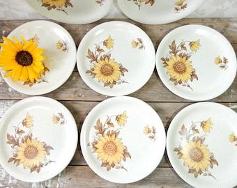Dinner Plate set of 8, Ironstone, Sunflower pattern called Sundowner, Woods & Sons, Burslem, England