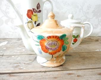 Vintage Teapot, Peach Lustreware, Iridescent, Japan, orange