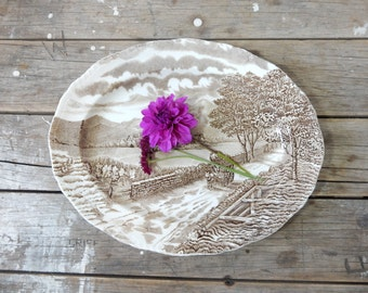Brown Transferware Platter, Westmorland Platter by Wood & Sons, Burslem, tray, large oval plate
