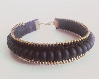 Urban Zipper and Bead Bracelet
