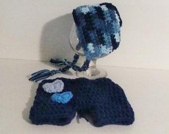 Newborn bonnet and shorts. Newborn boy. Newborn boy set. Photo prop