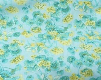 Aqua, Yellow Calico Floral Print by Peter Pan Fabrics, 1 yard