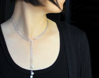 Pearl lariat necklace Bridesmaids gift Free US shipping handmade Anni Designs