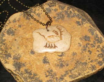 Petroglyph Necklace Carved Bone Pendant Man Woman Gift Primitive Bone Necklace