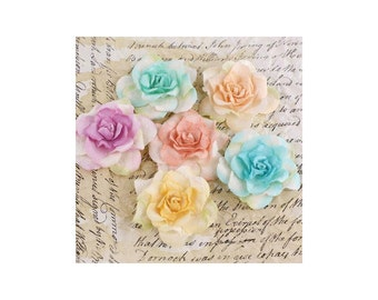 Multi Color Paper Flowers - Pankita Rose by Prima Marketing  - Set of 6 - #557577